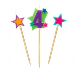 Velas Número 4 Estrellas