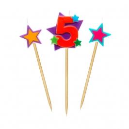 Velas Número 5 Estrellas