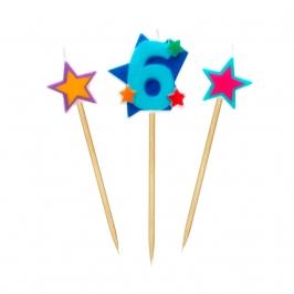 Velas Número 6 Estrellas