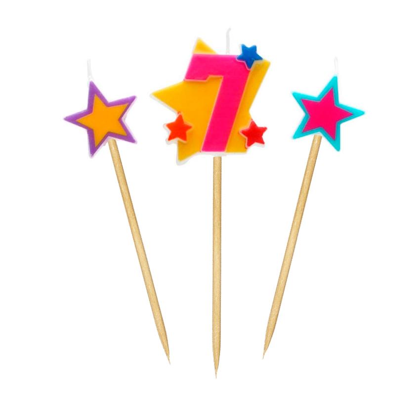 Velas Número 7 Estrellas