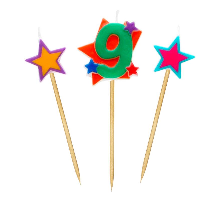 Velas Número 9 Estrellas