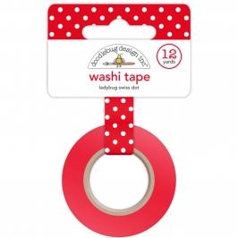 Washi Tape roja con lunares blancos
