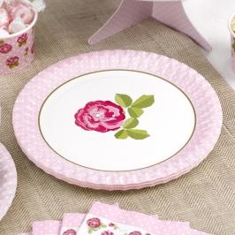 Juego de 8 Platos Vintage Rose