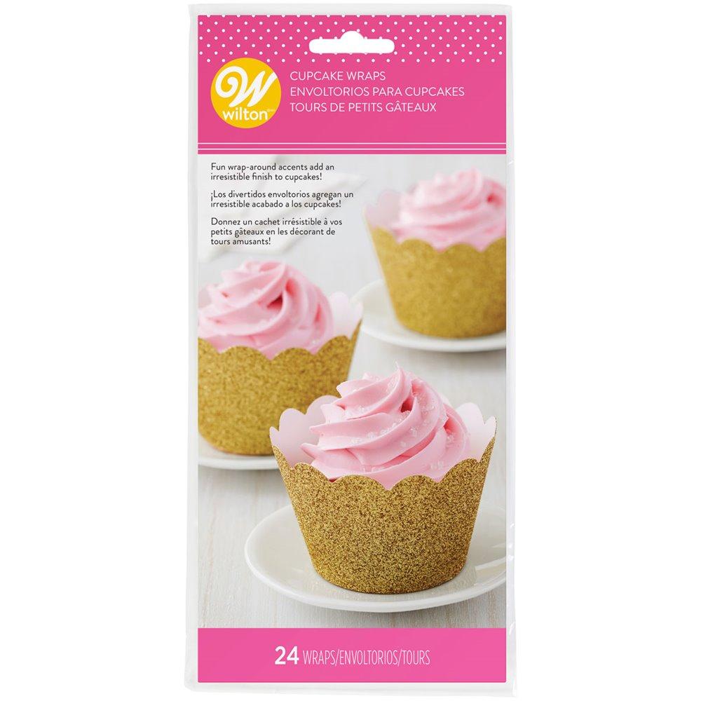 Wrappers para Cupcakes Oro Brillante
