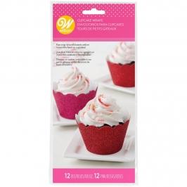 Wrappers para Cupcakes Rojo y Rosa Brillante