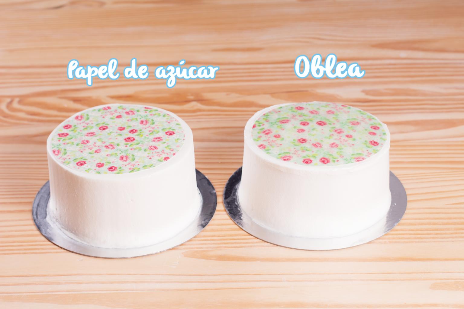 papel de azucar sobre tartas