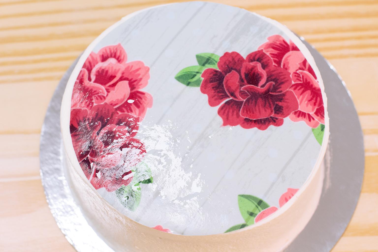 impresion en papel de azúcar sobre nata