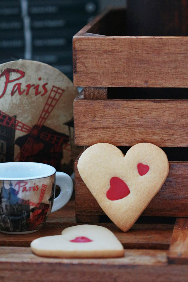 galletas corazón de vainilla