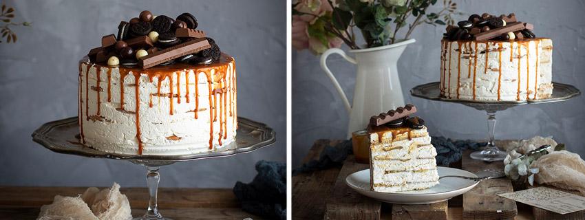 tarta de caramelo y galletas
