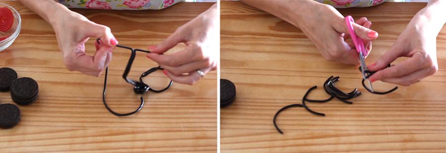 Arañas de oreo paso a paso 1