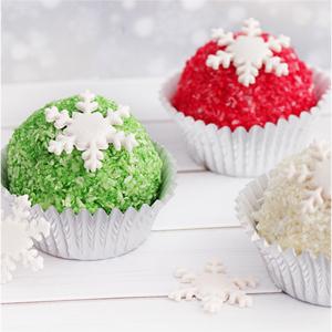 Bake Pops navideños de coco, chocolate blanco y avellanas