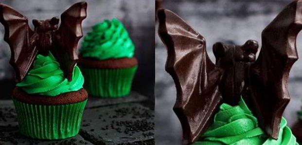 Cupcakes de chocolate y menta para Halloween