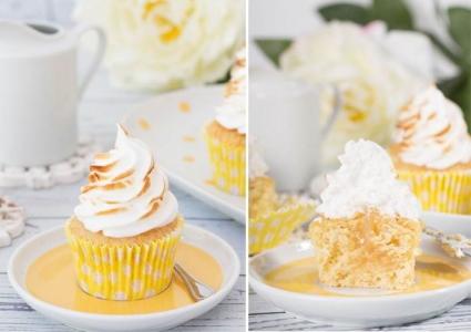 Cupcakes de Limón y jengibre decorados con Merengue Italiano