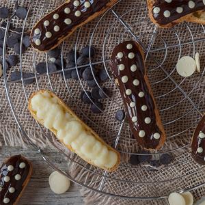 Receta de Éclaris de Crema Pastelera y Chocolate