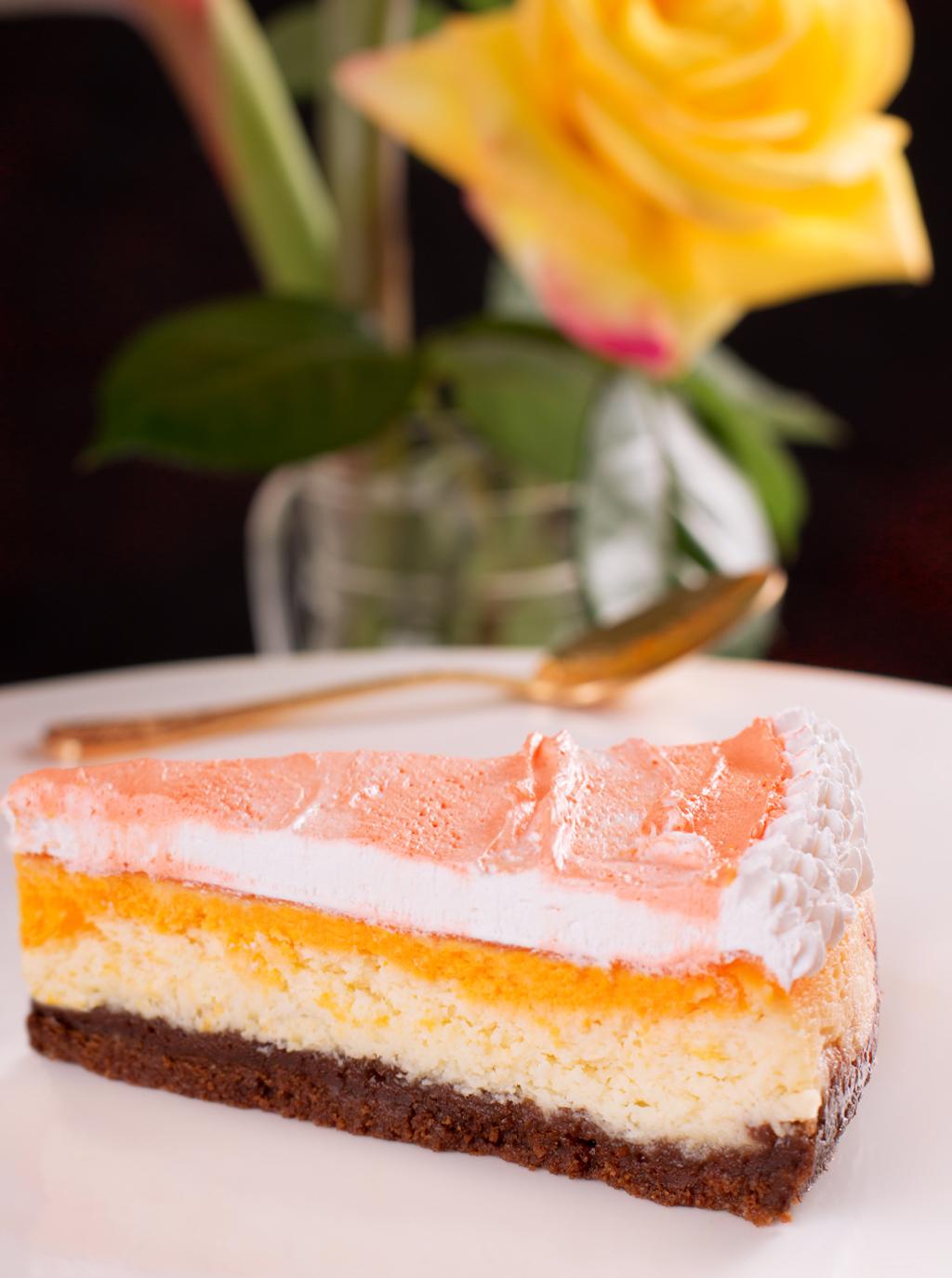 tarta de queso de chocolate blanco y fruta de la pasión