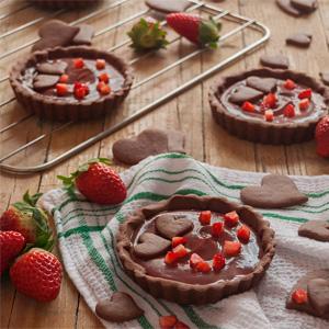 Tartaletas de Chocolate y Fresa para San Valentín