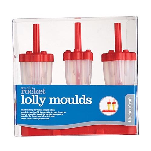 Set 3 moldes para helado Cohete