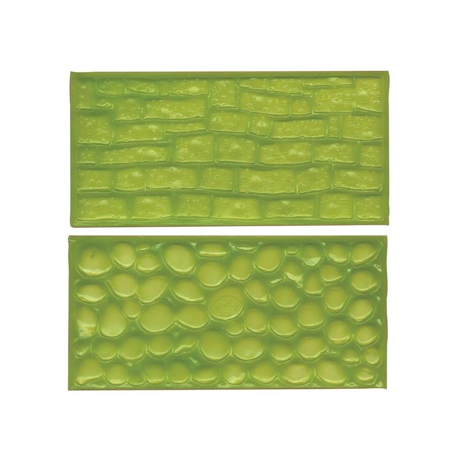 Juego de 2 tapetes texturizadores Adoquines y pared de piedra