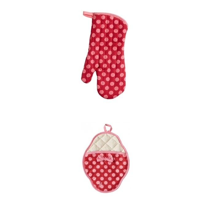 Set Guantes de Horno Red & Pink Polka dot