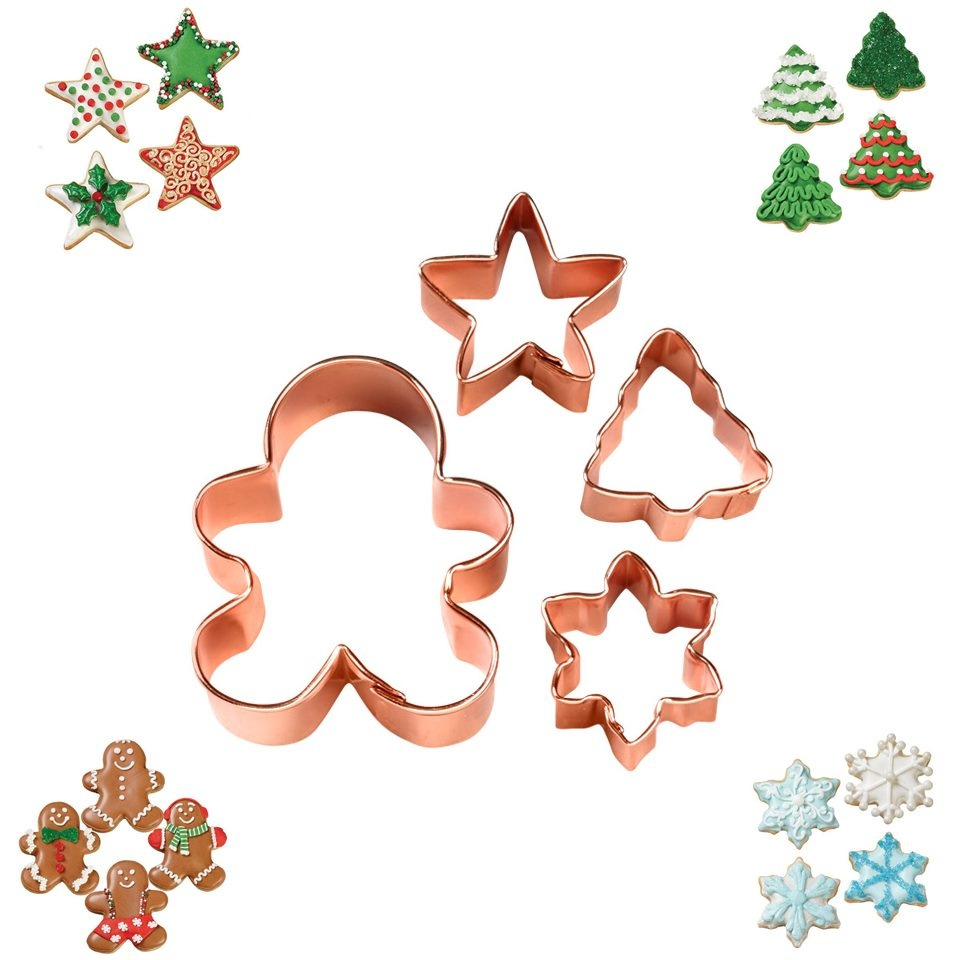 Set 4 Cortadores Cobre Navidad