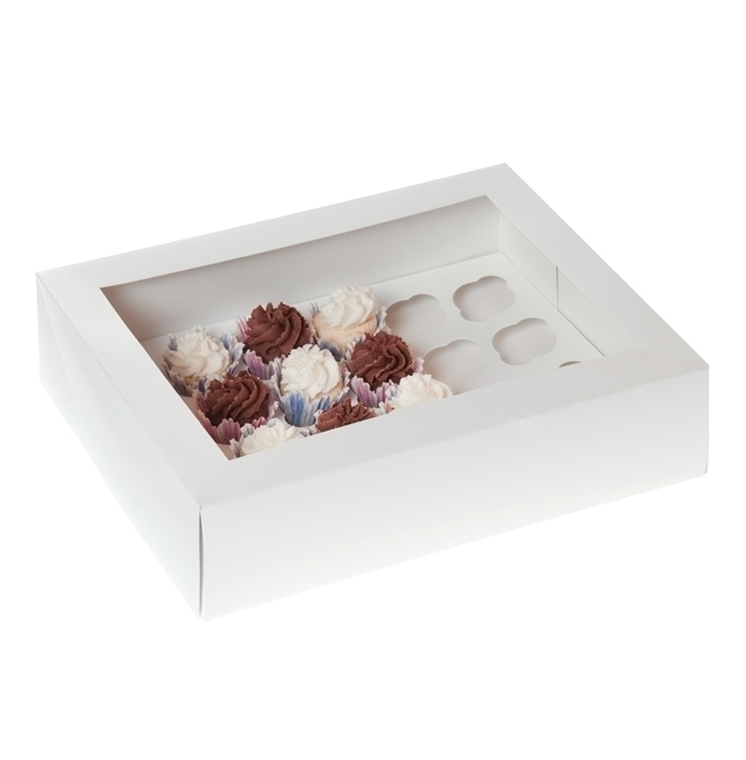 Caja 24 mini cupcakes Blanco Satinado