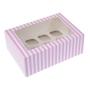 Caja para 12 mini cupcakes Rosa y blanca