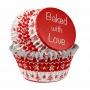 Cápsulas para cupcakes navideñas rojas y blancas