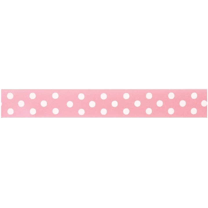 Cinta satinada Polka dot Rose 24mm (2 mts)
