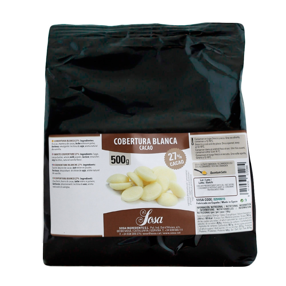 Cobertura de chocolate blanco gourmet Home Chef 500gr