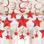 Decoración Colgante Estrellas y Espirales Rojas 30 ud