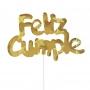 Decoración para Tarta Feliz Cumple Dorado Holográfico - My Karamelli