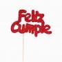 Decoración para Tarta Feliz Cumple Rojo - My Karamelli