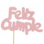 Decoración para tarta Feliz Cumple Rosa bebé