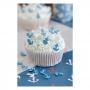 Decoraciones de azúcar para dulces de anclas azules y blancas 40 gramos