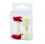 Estambres para flores blancos y rojos
