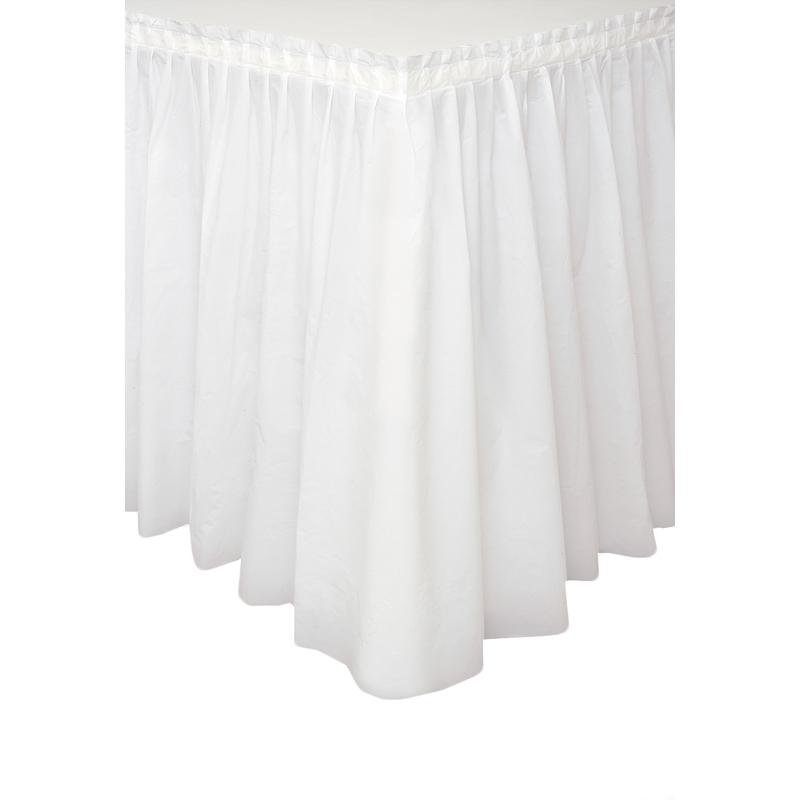 Falda de Plástico para Mesa Blanca