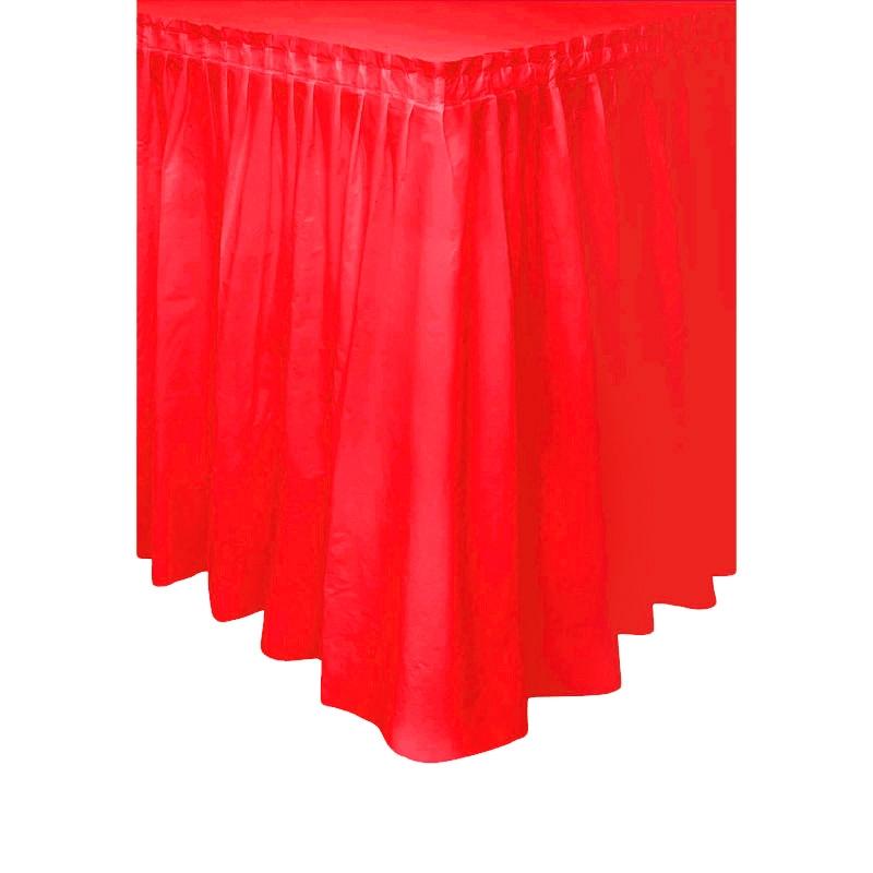 Falda de Plástico para Mesa Roja