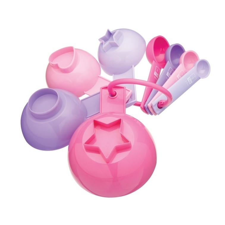 Juego de 8 tazas y cucharas medidoras color pastel