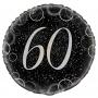 Globo 60 Cumpleaños Negro y Plata 45cm