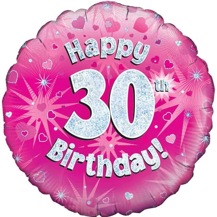 Globo de foil Holográfico 30 Cumpleaños rosa