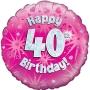 Globo de foil Holográfico 40 Cumpleaños rosa