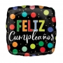 Globo Feliz Cumpleaños Cuadrado con Lunares 45 cm