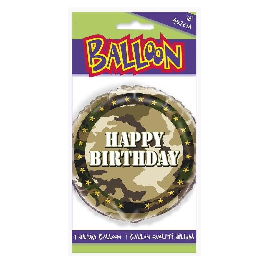 Globo Feliz Cumpleaños Camuflaje Militar