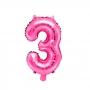 Globo Foil Número 3 Rosa Intenso