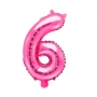 Globo Foil Número 6  Rosa Intenso