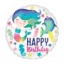 Globo Foil Sirena Happy Birthday 43 cm
