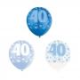 Set de 6 Globos 40 Cumpleaños Azul 30 cm