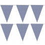 Guirnalda de banderines en tonos azul marino y blanco de 2,5 metros de largo