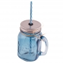 Jarra de cristal con asa, tapa y pajita color azul - My Karamelli