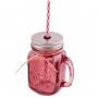 Jarra de cristal con asa, tapa y pajita color rosa oscuro - My Karamelli